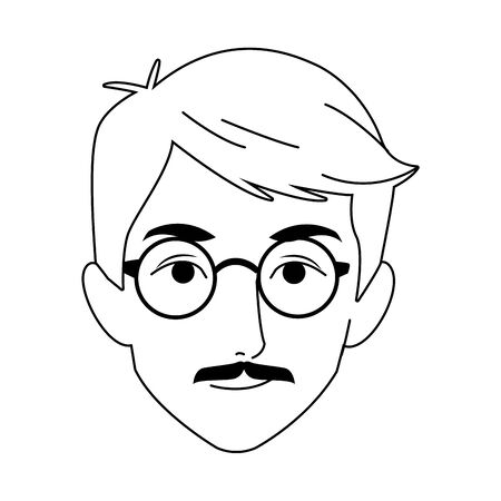 adult man with glasses icon over white background, vector illustration