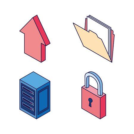 folder security center upload data technology internet set icons vector illustration