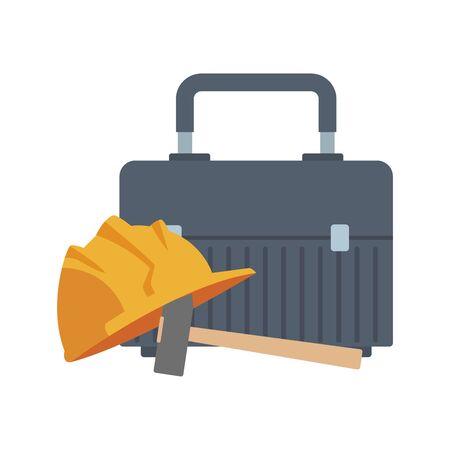 tools box and safety helmet icon over white background, vector illustration Ilustração