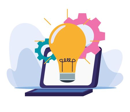 laptop computer with bulb and gear wheels over white background, colorful design, vector illustration