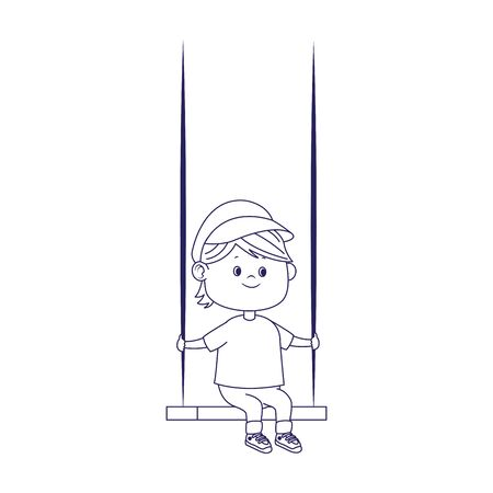 cartoon boy in a swing over white background, vector illustration Ilustracja