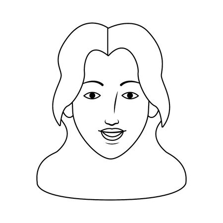 cartoon woman with long hair icon over white background, vector illustration
