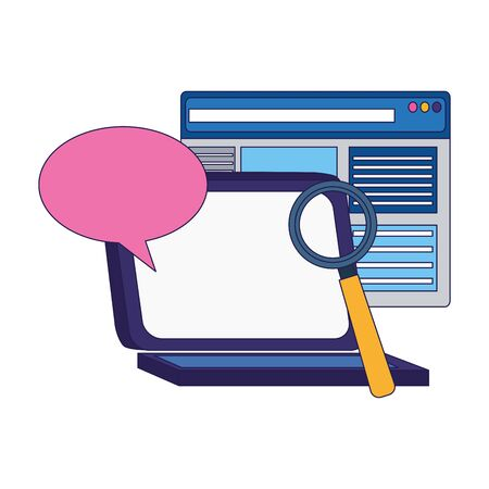 laptop computer with web page, speech bubble and magnifying glass over white background, vector illustration Ilustrace
