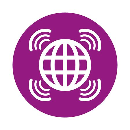 sphere browser globe with wifi signal vector illustration design