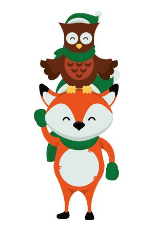 cute little fox and owl with christmas clothes vector illustration design