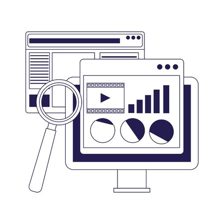 computer with web pages and magnifying glass over white background, flat design, vector illustration Ilustrace