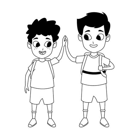 cartoon happy boys standing over white background, flat design, vector illustration
