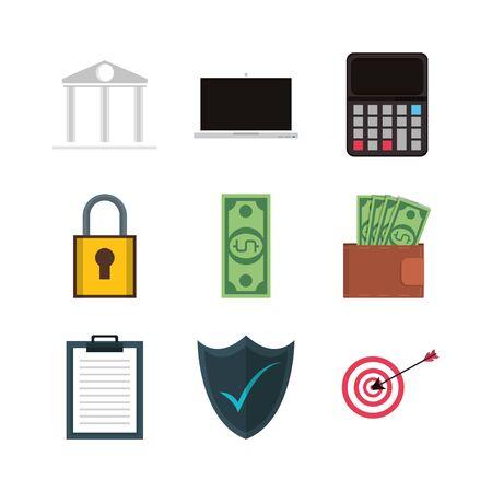 bundle of electronic commerce icons vector illustration design