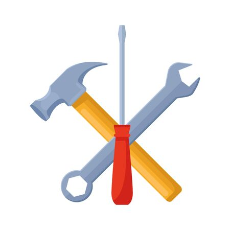 hammer, wrench and screwdriver tools over white background, vector illustration Ilustração
