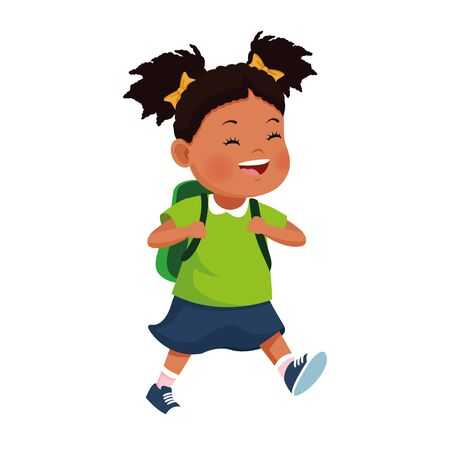 cartoon girl smiling with a backpack icon over white background, vector illustration