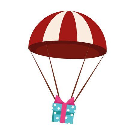 parachute with gift box over white background, colorful design , vector illustration Vektorgrafik