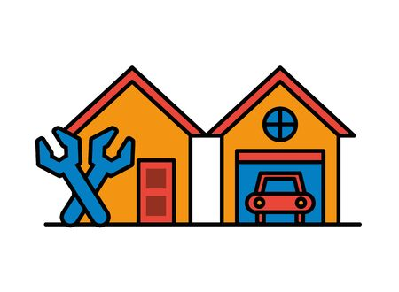 house and garage front facades with tools vector illustration design