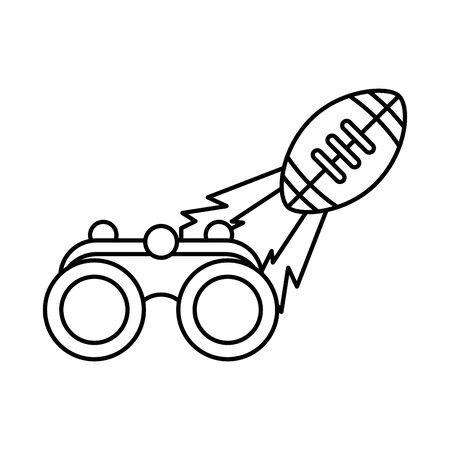 american football sport balloon with binoculars vector illustration design Stock Illustratie