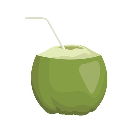 coconut drink with straw icon over white background, vector illustration Ilustração