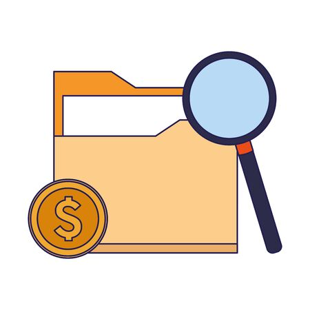 money coin and magnifying glass and document folder icon over white background, vector illustration