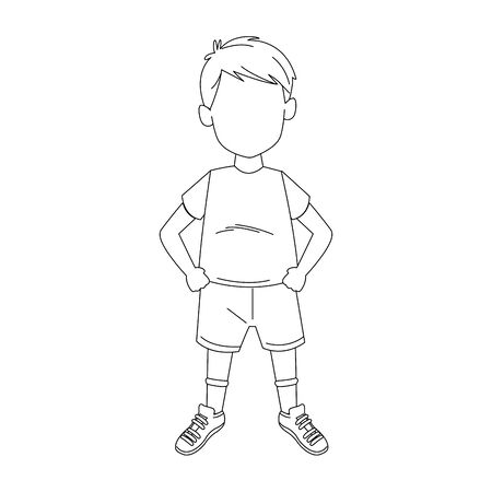 boy standing with tshirt and shorts over white background, vector illustration