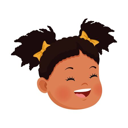 cartoon happy girl face icon over white background, vector illustration Stock Illustratie