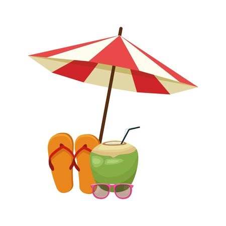 beach parasol with coconut drink and sandals over white background, vector illustration