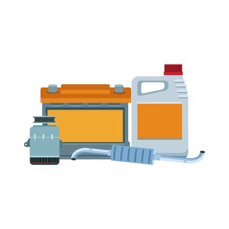 car battery with car oil bottle and engine parts over white background, vector illustration