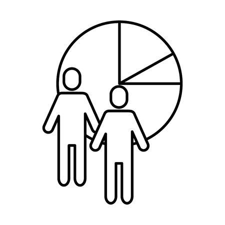 team work avatars with statistics pie vector illustration design Illusztráció
