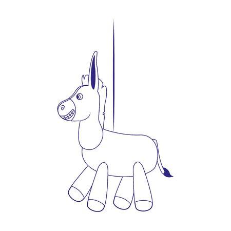 cartoon donkey icon over white background, flat design, vector illustration