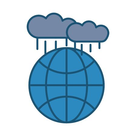world planet earth with clouds rain vector illustration design