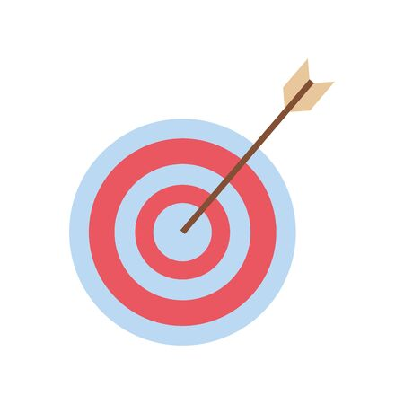 arrow hits the target, target icon over white background, colorful design, vector illustration