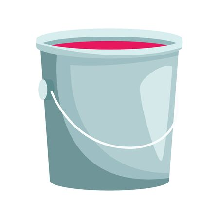 bucket of paint icon over white background, colorful design, vector illustration