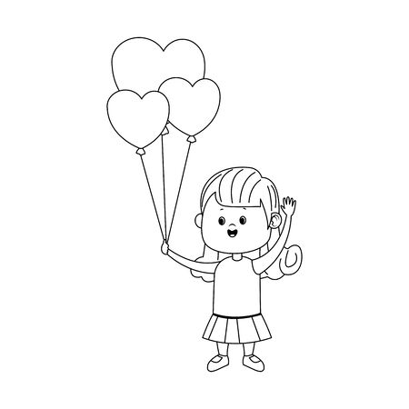 cute girl with heart balloons icon over white background, flat design, vector illustration Иллюстрация
