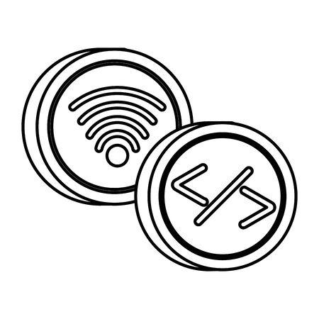 wifi connection signal button icon vector illustration design