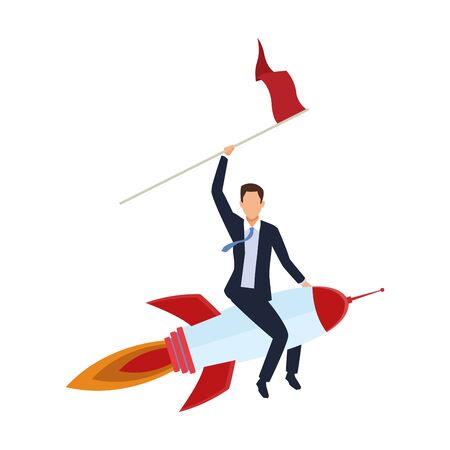businessman on space rocket with a flag over white background, colorful design, vector illustration