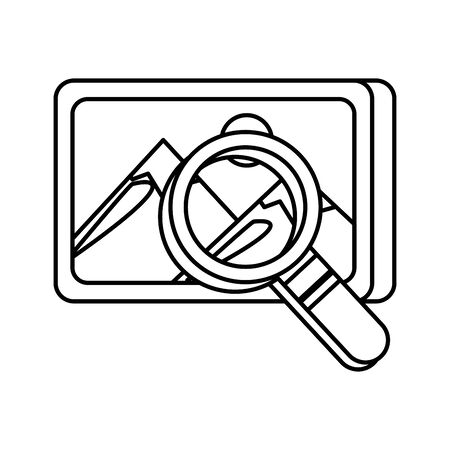 search magnifying glass with picture file vector illustration design