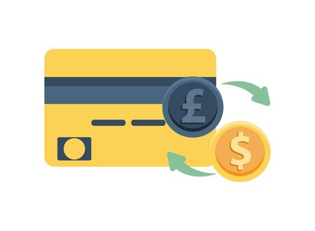 credit card with pound and dollar coins vector illustration design Stock Illustratie