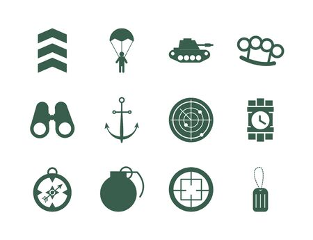 bundle of military set icons vector illustration design