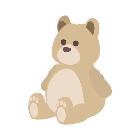 teddy bear icon over white background, vector illustration