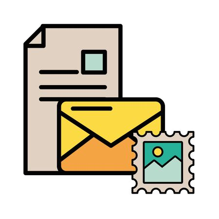 envelope mail with picture file postal service vector illustration design