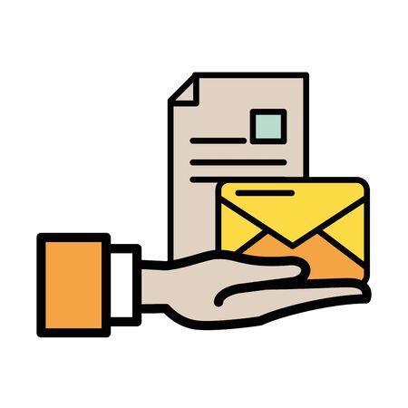 envelope mail with document file postal service vector illustration design Ilustracja