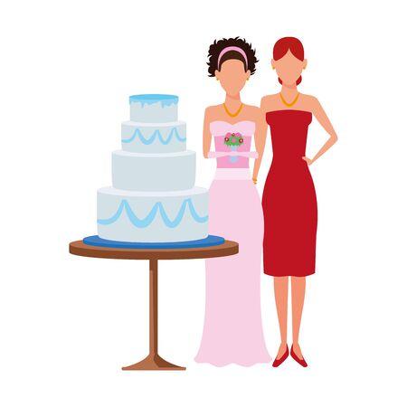 avatar bride and woman standing around the wedding cake icon over white background, vector illustration Standard-Bild - 140559181