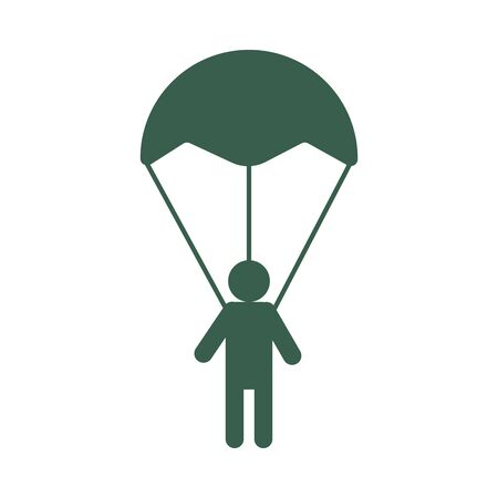 soldier military force in parachute vector illustration design