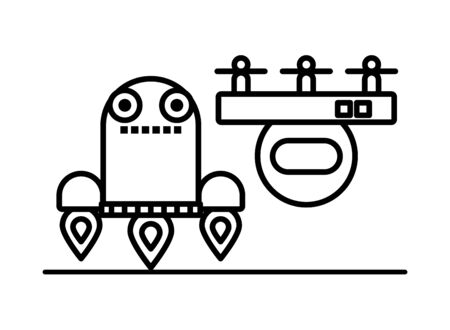 couple of robots technology icons vector illustration design Illustration