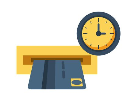 credit card with watch clock vector illustration design