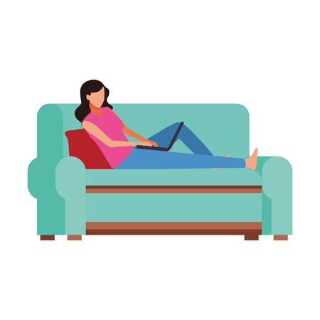 avatar woman lying in couch icon over white background, vector illustration