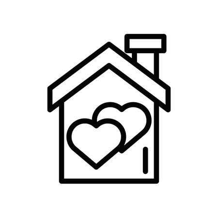 happy valentines day house with heart vector illustration design
