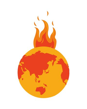 world planet melting global warming vector illustration design