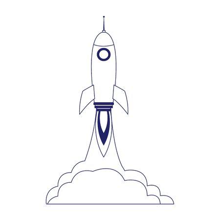 space rocket launching over white background, flat design, vector illustration Çizim