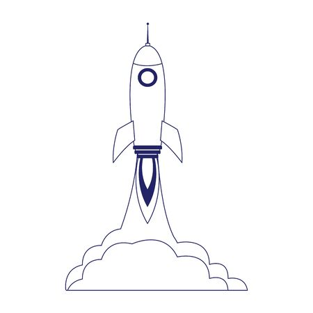 space rocket launching over white background, flat design, vector illustration Illustration