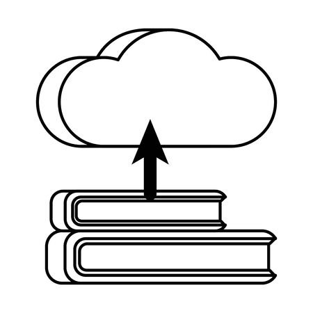 cloud computing server with books technology vector illustration design