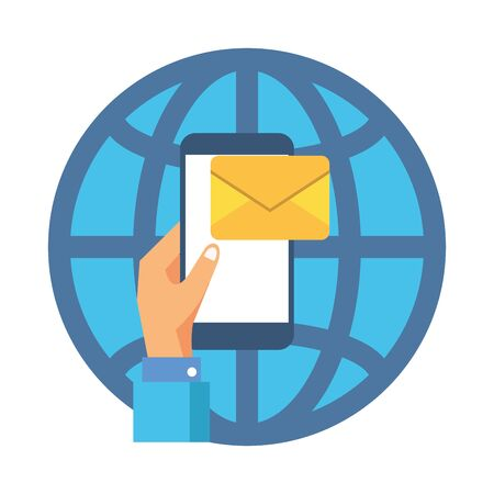 smartphone with envelope email postal service vector illustration design Ilustrace