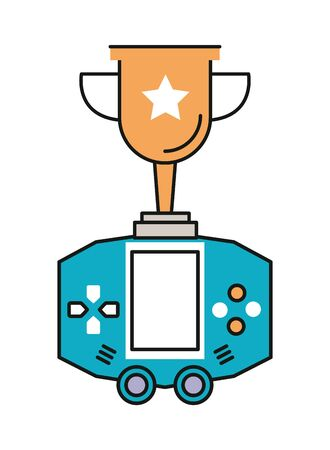 video game portable device with trophy cup vector illustration design