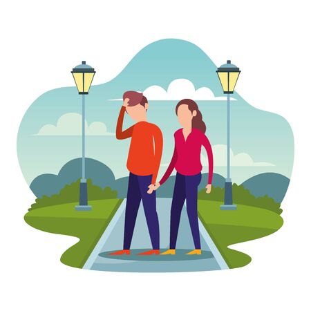 friends couple in the camp avatars characters vector illustration design